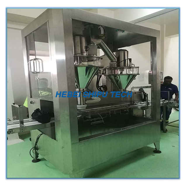 Automatic Herbs Powder Can Filling Machine (1 Line 2fillers) China Manufacturer